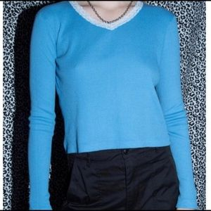Brandy blue thermal long sleeve with white lace